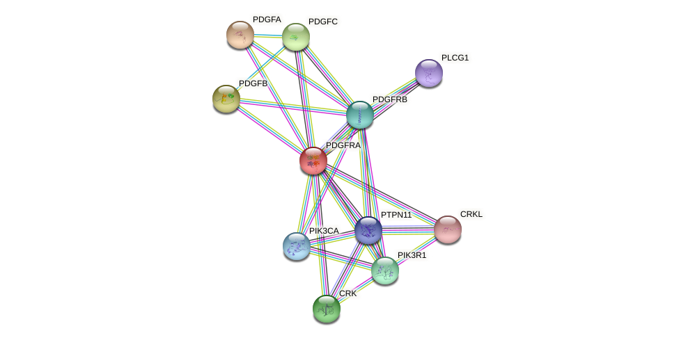 Protein-Protein network diagram for PDGFRA