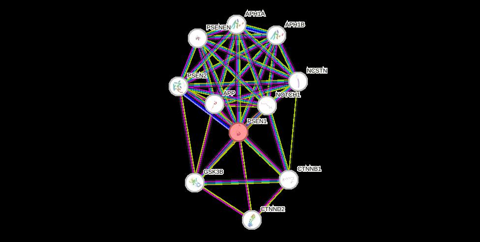 Protein-Protein network diagram for PSEN1