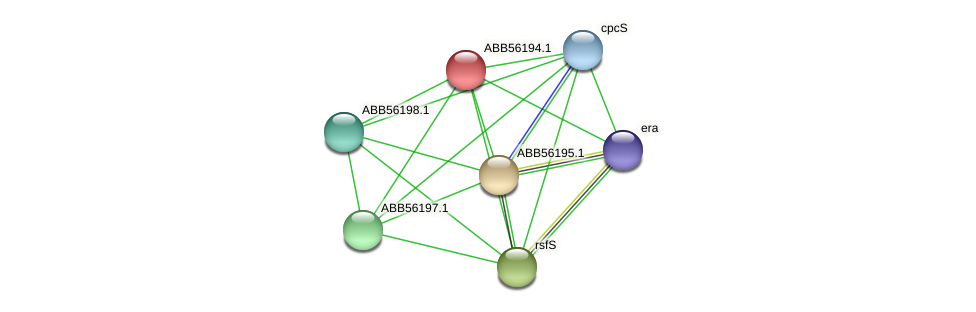 ABB56194.1 protein (Synechococcus elongatus PCC7942) - STRING interaction network