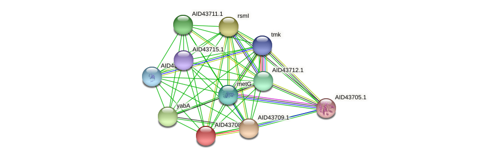 AID43708.1 protein (Staphylococcus xylosus) - STRING interaction network