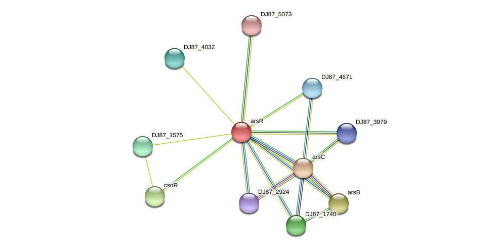 arsR protein (Bacillus cereus) - STRING interaction network