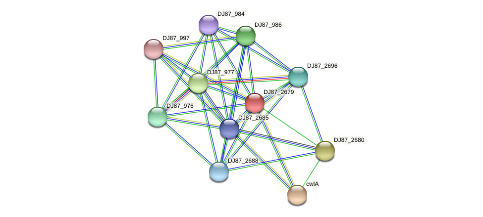 DJ87_2679 protein (Bacillus cereus) - STRING interaction network