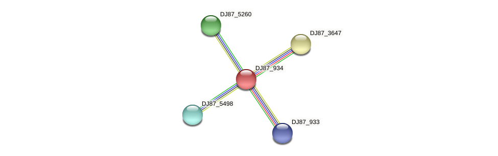 DJ87_934 protein (Bacillus cereus) - STRING interaction network
