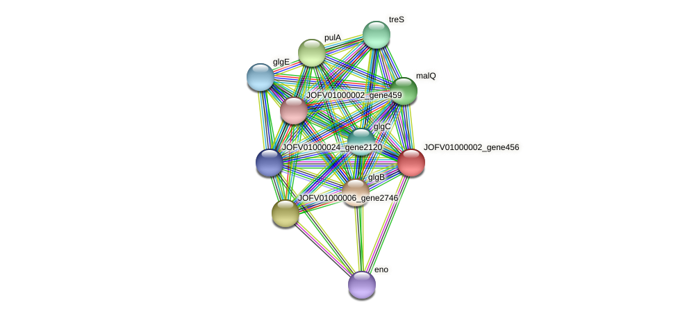 JOFV01000002_gene456 protein (Oerskovia turbata) - STRING interaction network