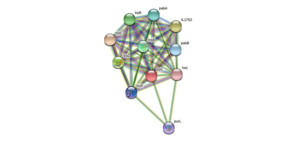 trpC protein (Idiomarina loihiensis) - STRING interaction network