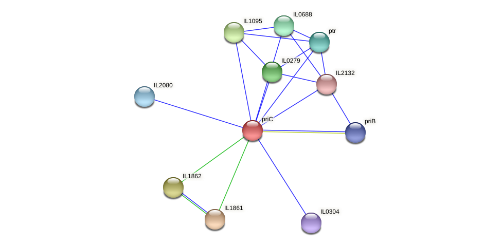 priC protein (Idiomarina loihiensis) - STRING interaction network