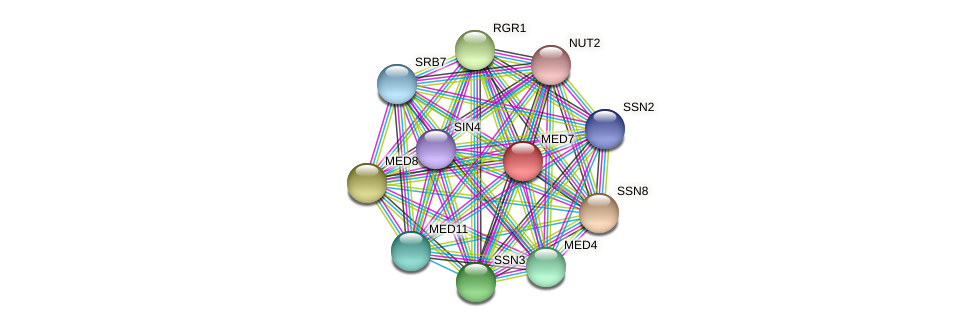 MED7 protein (Candida glabrata) - STRING interaction network