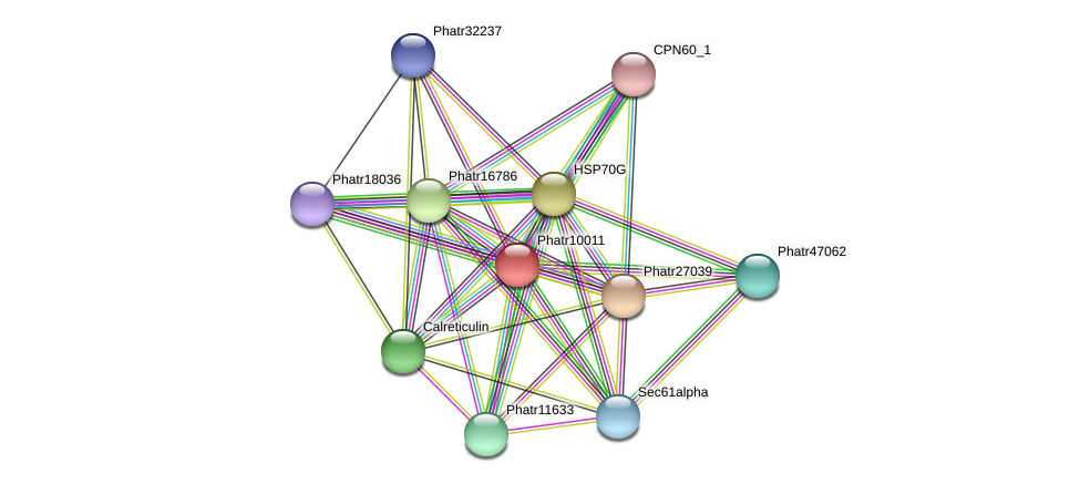 Phatr10011 protein (Phaeodactylum tricornutum) - STRING interaction network