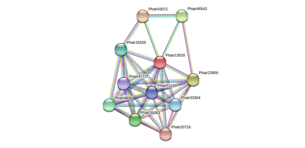 Phatr13520 protein (Phaeodactylum tricornutum) - STRING interaction network