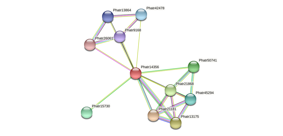 Phatr14356 protein (Phaeodactylum tricornutum) - STRING interaction network