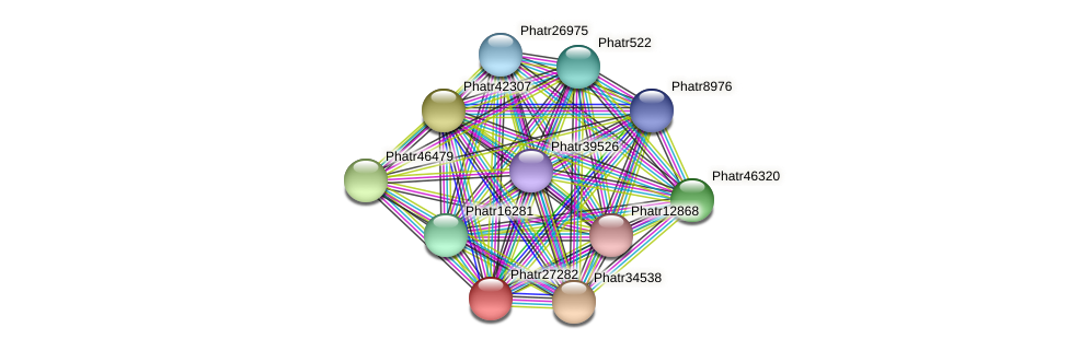 Phatr27282 protein (Phaeodactylum tricornutum) - STRING interaction network