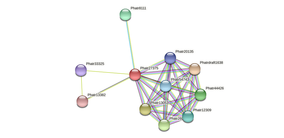 Phatr27375 protein (Phaeodactylum tricornutum) - STRING interaction network