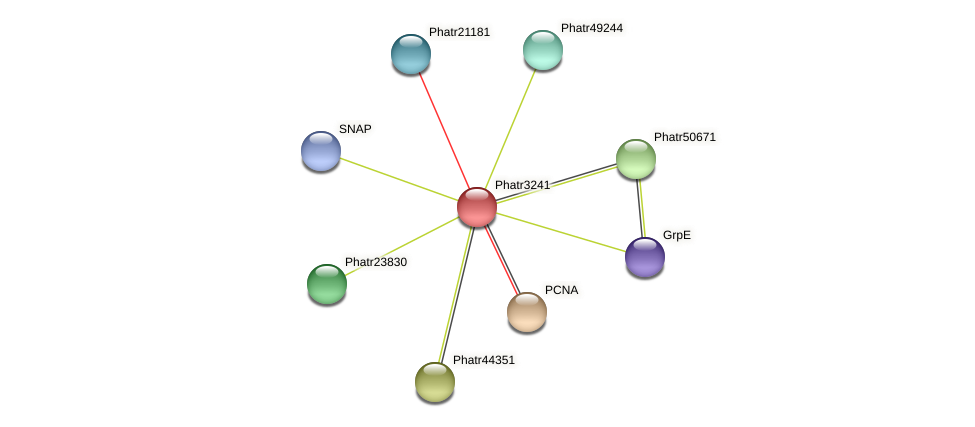 Phatr3241 protein (Phaeodactylum tricornutum) - STRING interaction network