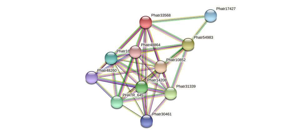 Phatr33568 protein (Phaeodactylum tricornutum) - STRING interaction network