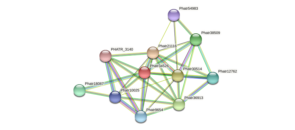 Phatr34526 protein (Phaeodactylum tricornutum) - STRING interaction network