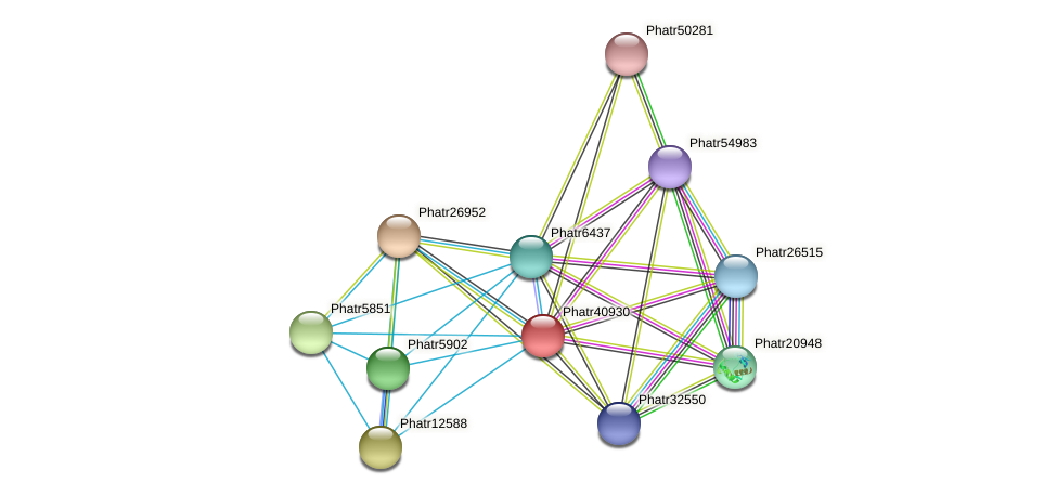 Phatr40930 protein (Phaeodactylum tricornutum) - STRING interaction network