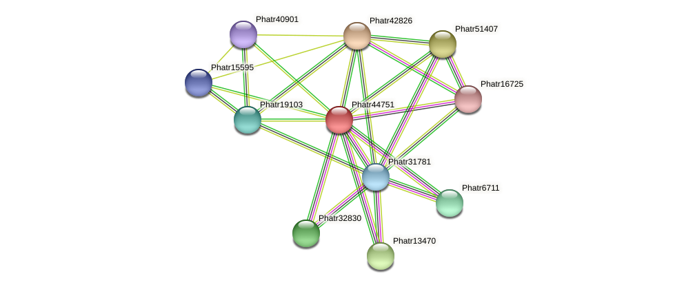 Phatr44751 protein (Phaeodactylum tricornutum) - STRING interaction network