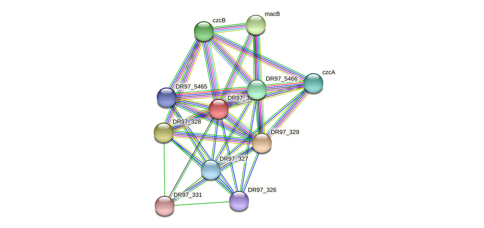 DR97_330 protein (Pseudomonas aeruginosa) - STRING interaction network