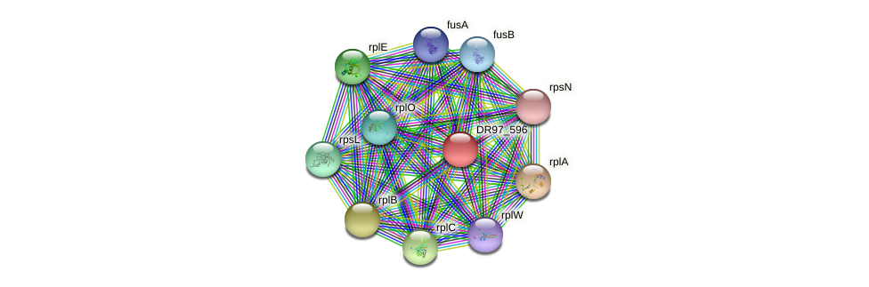 DR97_596 protein (Pseudomonas aeruginosa) - STRING interaction network