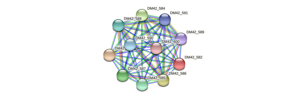 DM42_582 protein (Burkholderia cepacia) - STRING interaction network