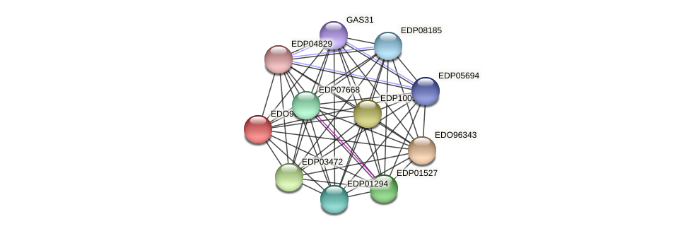 EDO96344 protein (Chlamydomonas reinhardtii) - STRING interaction network