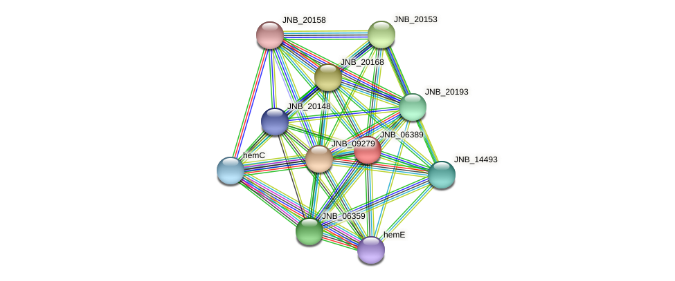 JNB_06389 protein (Janibacter sp. HTCC2649) - STRING interaction network