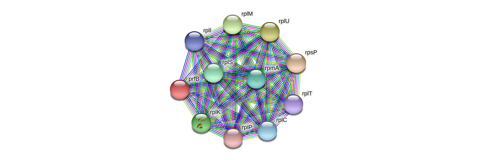 prfB protein (Janibacter sp. HTCC2649) - STRING interaction network