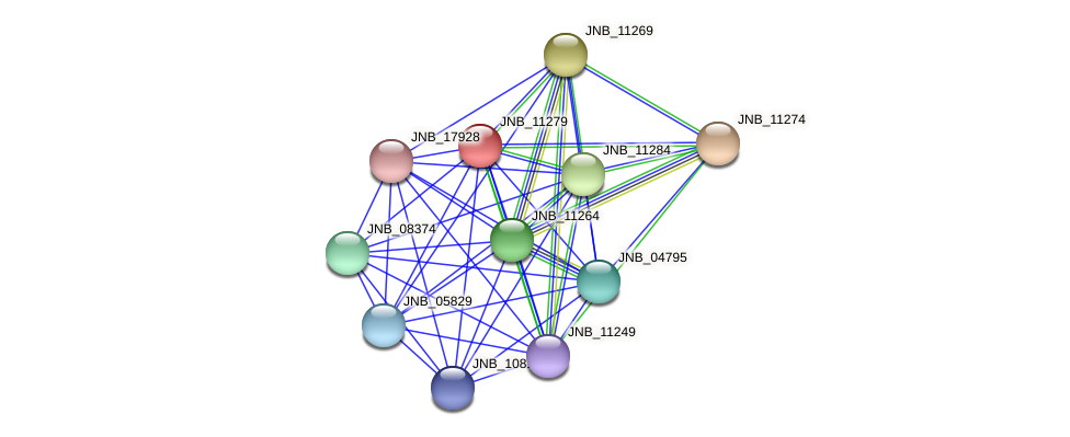 JNB_11279 protein (Janibacter sp. HTCC2649) - STRING interaction network