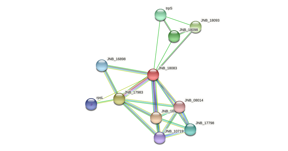 JNB_18083 protein (Janibacter sp. HTCC2649) - STRING interaction network