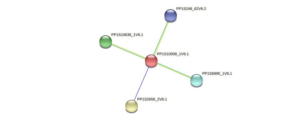 PP1S10008_1V6.1 protein (Physcomitrella patens) - STRING interaction network