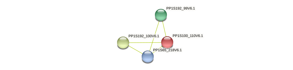 PP1S100_110V6.1 protein (Physcomitrella patens) - STRING interaction network