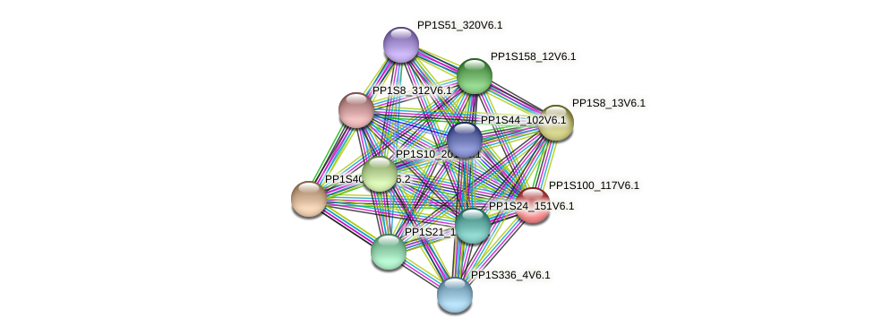 PP1S100_117V6.1 protein (Physcomitrella patens) - STRING interaction network