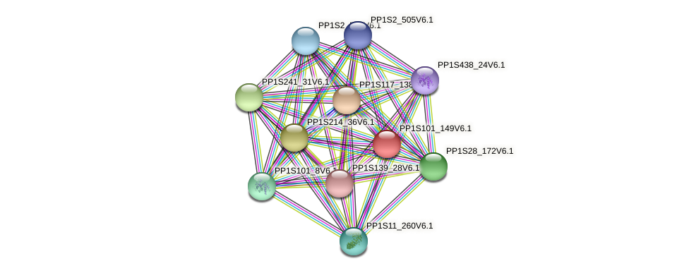 PP1S101_149V6.1 protein (Physcomitrella patens) - STRING interaction network