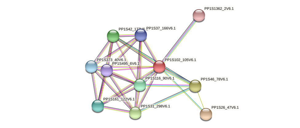 PP1S102_105V6.1 protein (Physcomitrella patens) - STRING interaction network