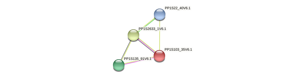 PP1S103_35V6.1 protein (Physcomitrella patens) - STRING interaction network