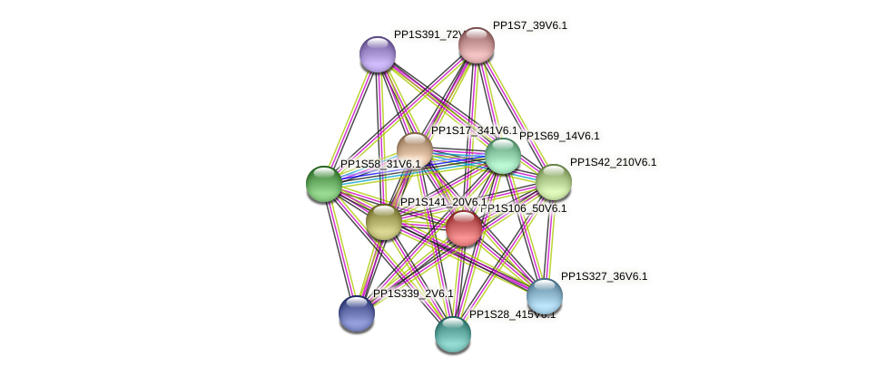 PP1S106_50V6.1 protein (Physcomitrella patens) - STRING interaction network