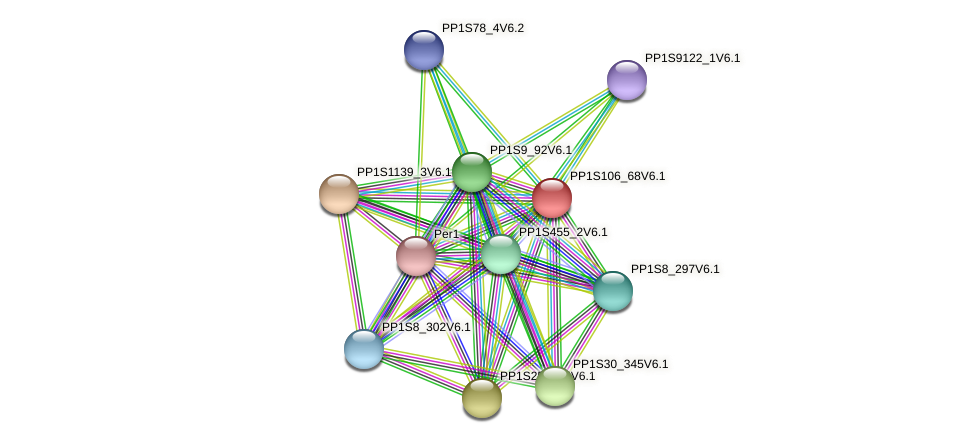 PP1S106_68V6.1 protein (Physcomitrella patens) - STRING interaction network