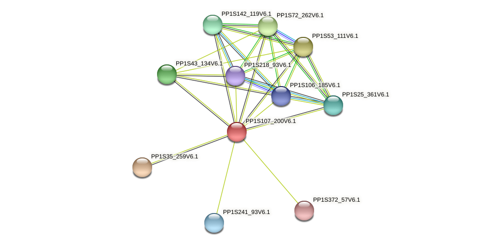 PP1S107_200V6.1 protein (Physcomitrella patens) - STRING interaction network