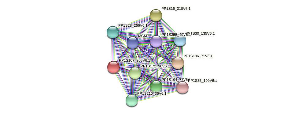 PP1S107_208V6.1 protein (Physcomitrella patens) - STRING interaction network