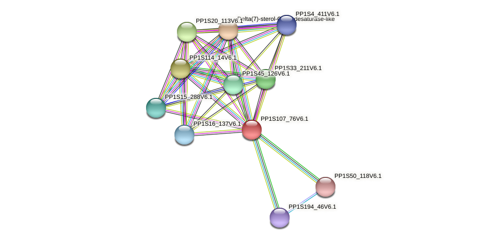 PP1S107_76V6.1 protein (Physcomitrella patens) - STRING interaction network