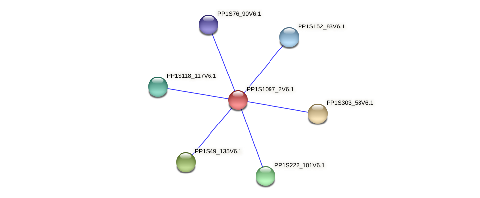 PP1S1097_2V6.1 protein (Physcomitrella patens) - STRING interaction network