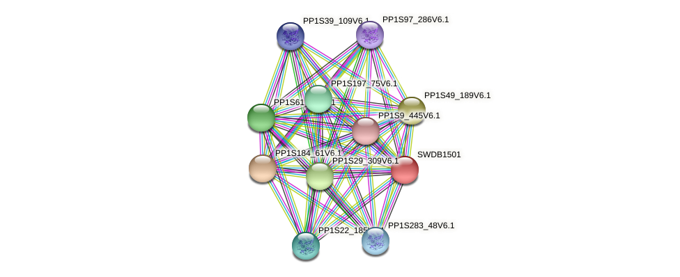 SWDB1501 protein (Physcomitrella patens) - STRING interaction network