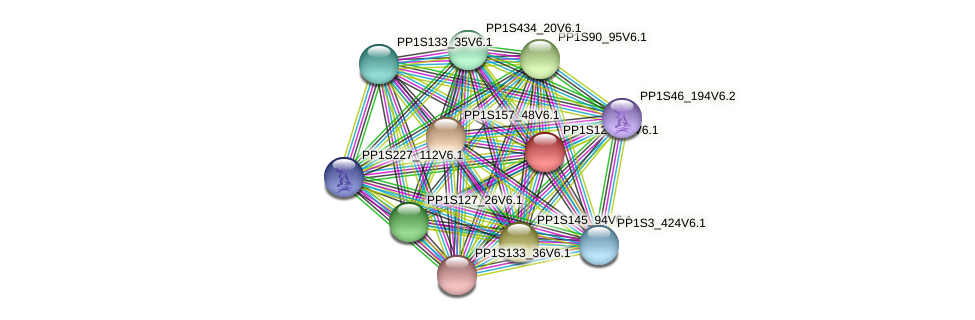 PP1S120_45V6.1 protein (Physcomitrella patens) - STRING interaction network