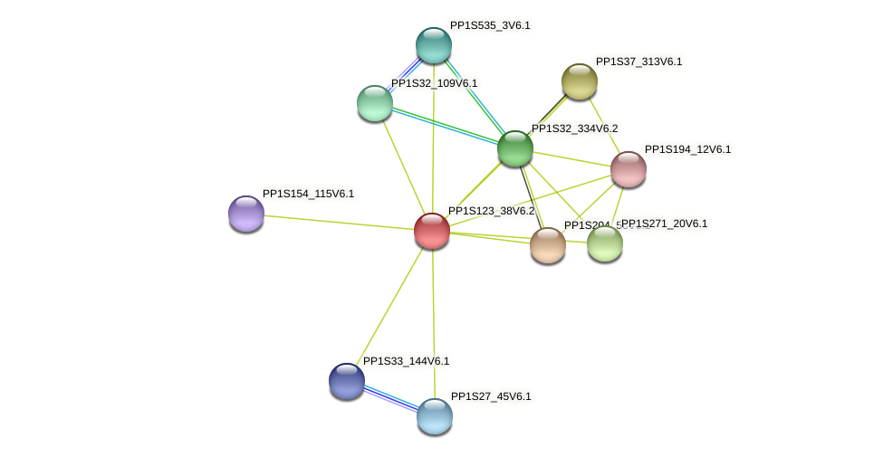 PP1S123_38V6.2 protein (Physcomitrella patens) - STRING interaction network