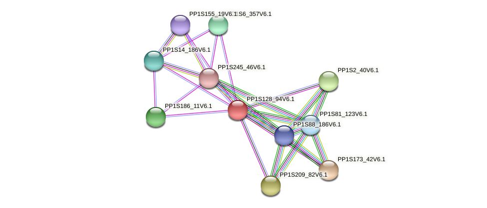 PP1S128_94V6.1 protein (Physcomitrella patens) - STRING interaction network