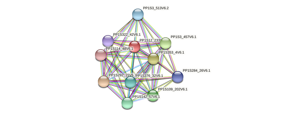 PP1S12_233V6.1 protein (Physcomitrella patens) - STRING interaction network