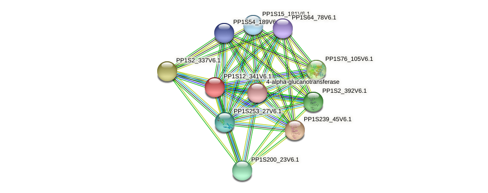 PP1S12_341V6.1 protein (Physcomitrella patens) - STRING interaction network