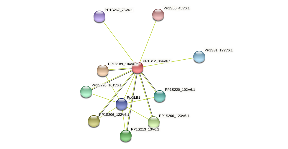 PP1S12_364V6.1 protein (Physcomitrella patens) - STRING interaction network