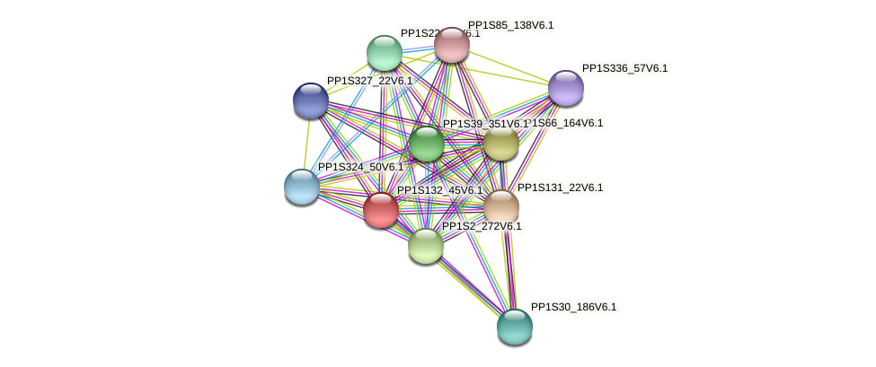 PP1S132_45V6.1 protein (Physcomitrella patens) - STRING interaction network