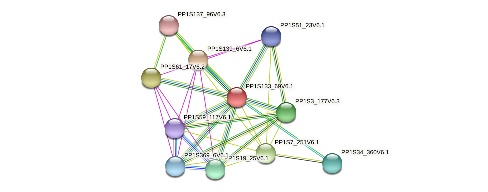 PP1S133_69V6.1 protein (Physcomitrella patens) - STRING interaction network